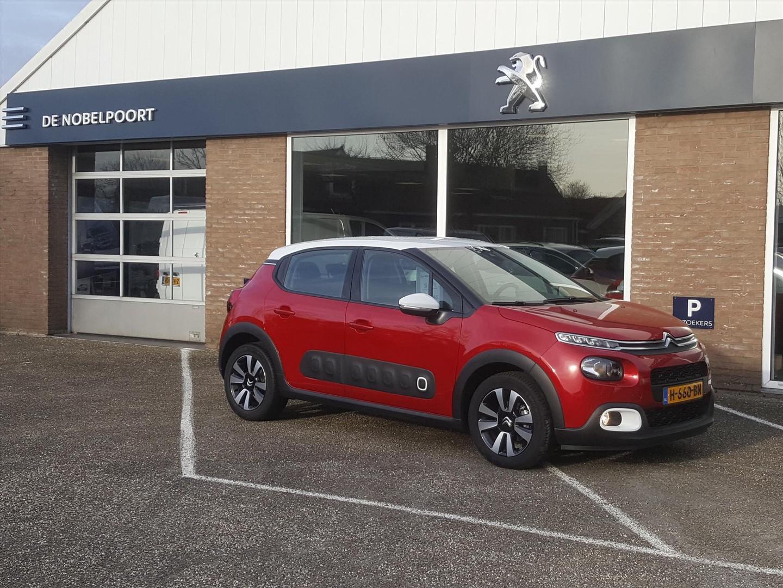 Citroën C3 Shine 1.2puretech-110pk volautomaat(6t) rood/wit-dak navigatie,bluetooth, parkeerhulp+camera cruise & climate control, lm-velgen