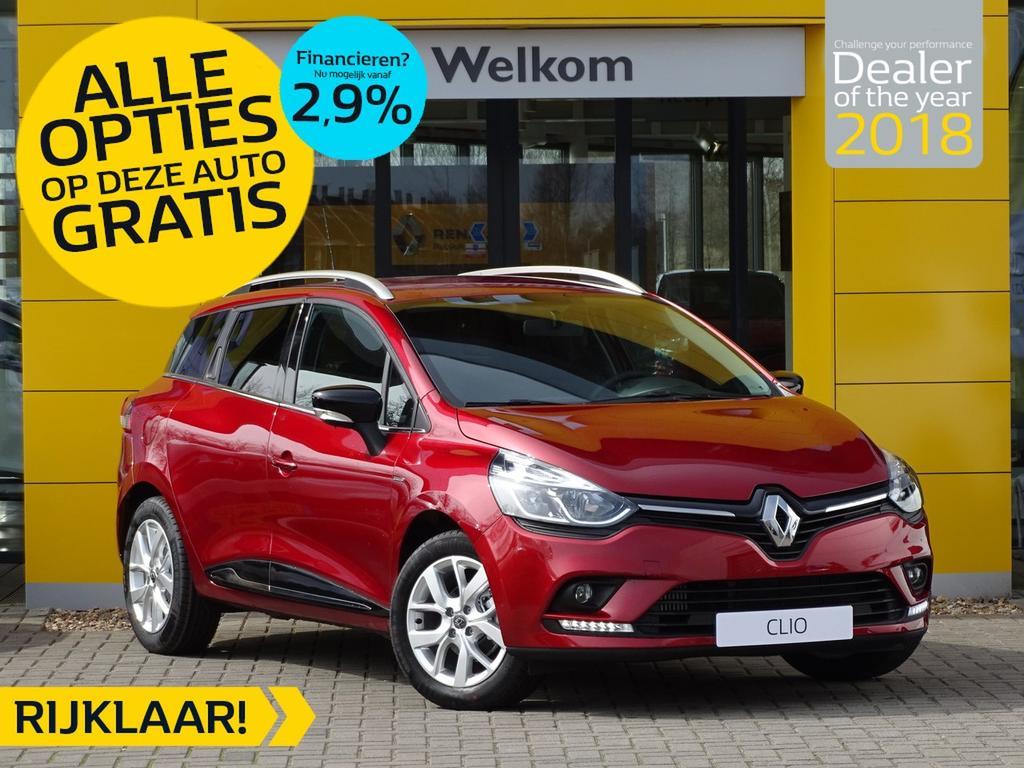 Renault Clio Estate tce 90pk limited incl. gratis opties normaal rijklaar 21.595,- nu rijklaar 19.295,-
