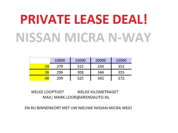 Nissan Micra € 279,- private lease deal! 0.9 ig-t 90pk n-way